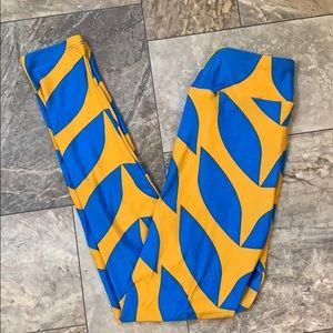 🆕Lularoe Blue & Yellow Casual Skinny Leggings